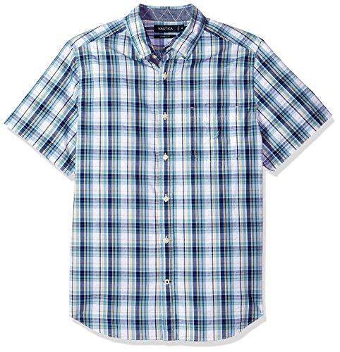 Nautica Men's Short Sleeve Plaid Button Down Shirt, Cameo Blue, Medium