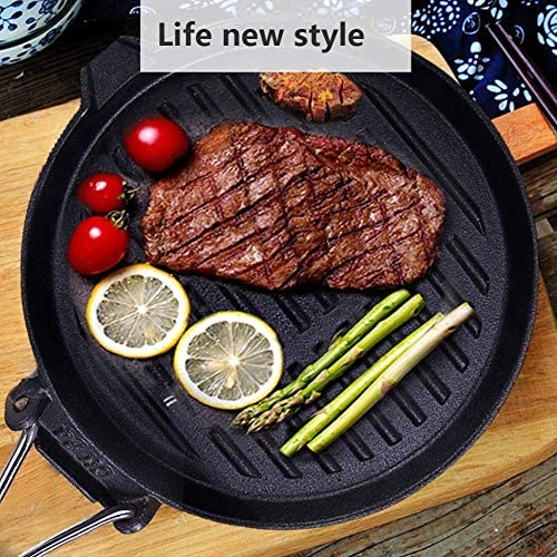 LULUDP Casseroles et poëles Gril Rond en Fonte, poêle à Frire, poêle à Frire avec poignée Repliable, avec chaudière à l'huile, pour Steak ou BBQ, 24cm9.45inch Batteries de Cuisine