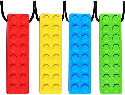 Aide de dentition en silicone sans BPA pour apaiser b/éb/é 2 pi/èces longes d/étachables TDAH chewer agressif avec autisme besoins mordants soulage la douleur moteur oral Collier /à m/âcher sensoriel
