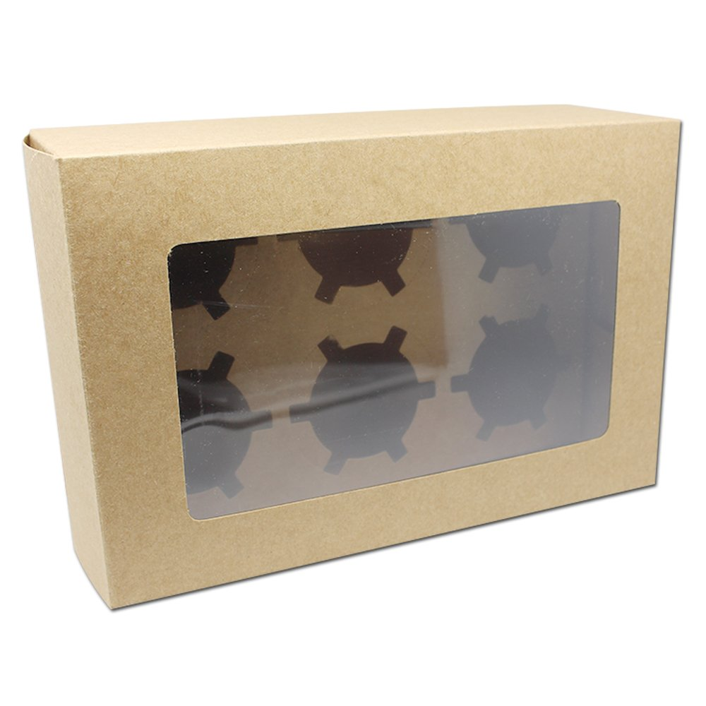 Kitchen Dining Bakeware Cupcake Kraft Paper Boxes 9.4''x6''x2.95''Cookie Bakery Diy Gift Favor Treat Food Chocolate Snack Biscuit Cake Packing Take Out Container (50, Brown)