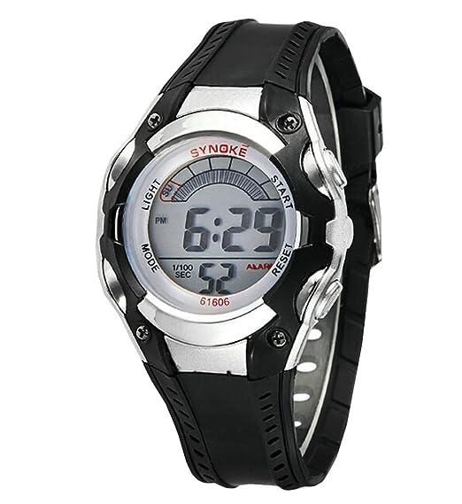 Niños impermeable Relojes deportivos de resina de verano Outdoor Digital Kids Relojes Negro