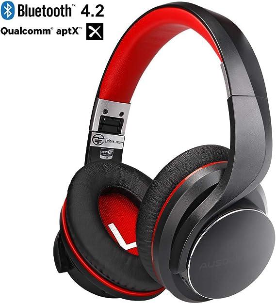 AUSDOM Auriculares Bluetooth 4.2v sobre la oreja, Apt-X baja latencia, auriculares inalámbricos , auriculares estéreo con aislamiento de ruido Micrófono incorporado para TV / PC Gaming / tabletas: Amazon.es: Electrónica