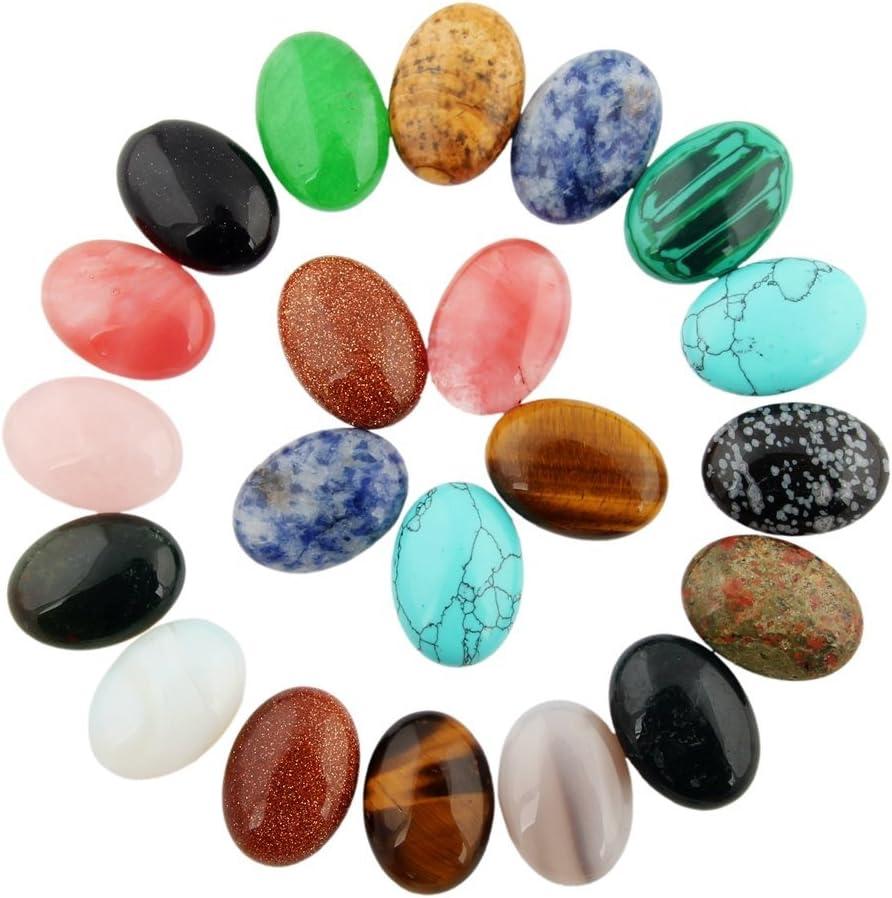 SUPVOX 10Pcs Cabochon Stone Oval Semi-Precious Gemstones Crystal Quartz Beads for Jewelry Making No Holes Mixed Color