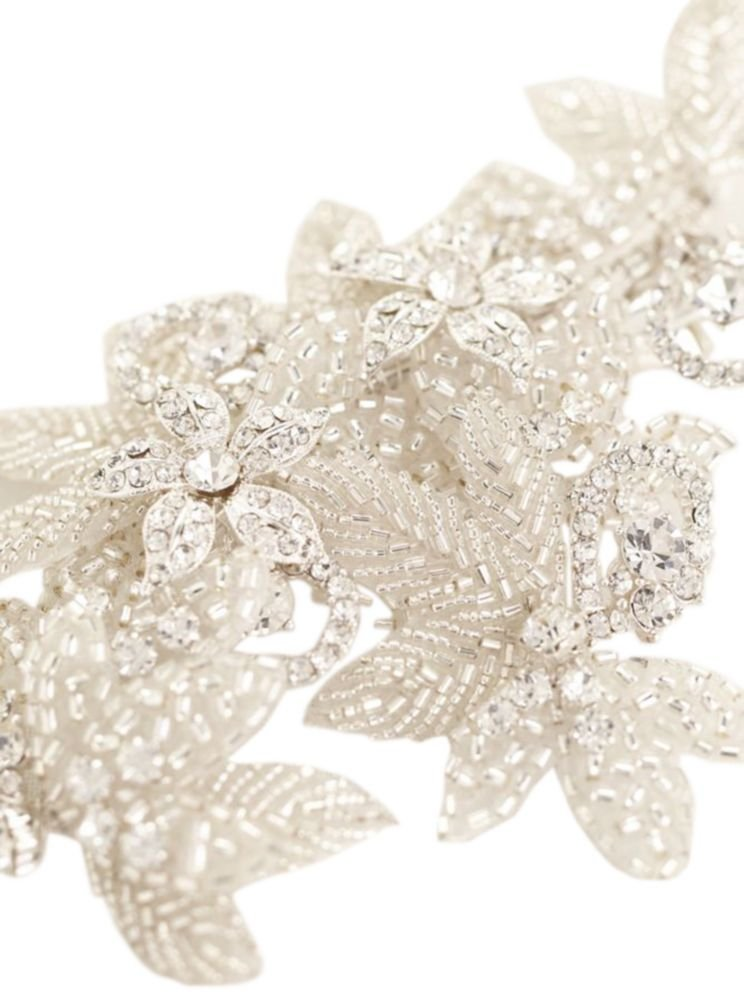 Floral Inspired Rhinestone Hair Clip with Beads Style CSWG560, Silver