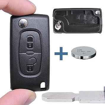 – Llave Carcasa Llave Mando a distancia Auto Llave 2 Teclas en blanco NE78 + Batería para Citroen/Peugeot/Fiat
