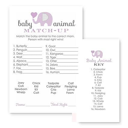 Amazon Com Purple Elephant Baby Shower Games Animal Match Cards