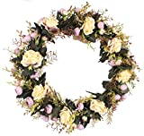 Duovlo Rose Floral Twig Wreath 19 Inch Handmade Artificial Flowers Garland Front Door Wreath (Style-2 Champagne)