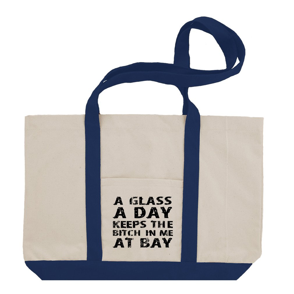 Glass A Day The Bitch In Me At The Bay Cotton Canvas Boat Tote Bag Tote - Royal Blue
