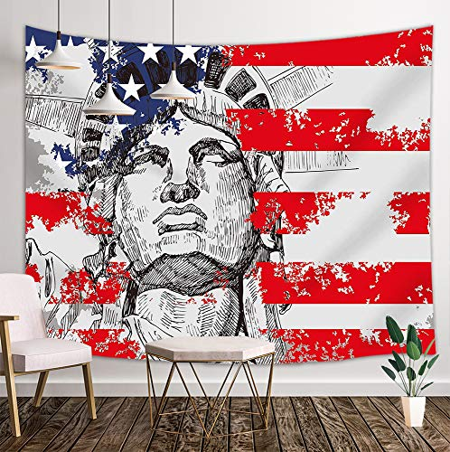 America Flag Tapestry, USA Flag Statue Liberty Watercolor Decor, Wall Art Hanging Bedroom Living Room Dorm, 71 X 60 inches Wall Blankets Home Decor