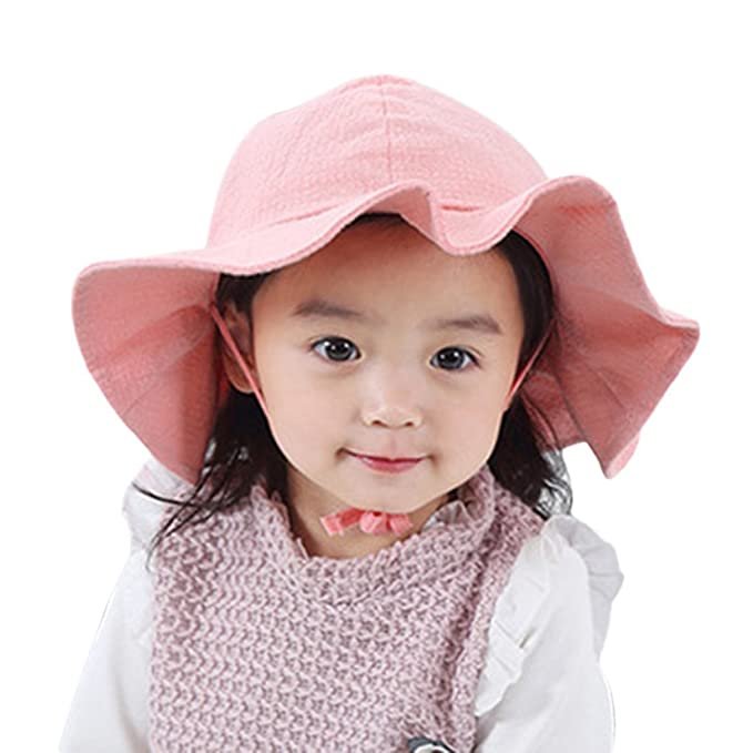 Aniwon Baby Girls Summer Beach Sun Hats UV Protection Wide Brim Hat with  Strap (Pink 85d905eb99a5