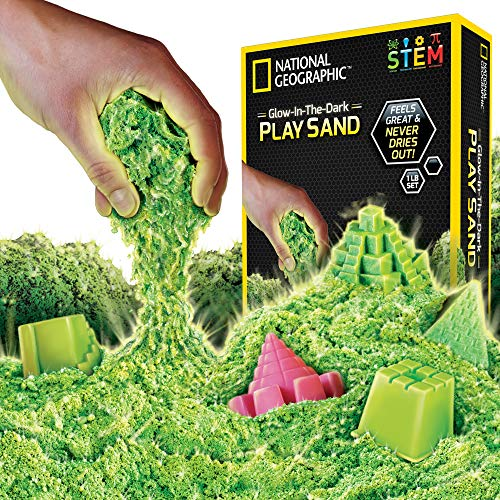 (NATIONAL GEOGRAPHIC Play Sand - 1 LB of Sand with Castle Molds and Tray (Glow-in-the-Dark!) - A Kinetic Sensory)