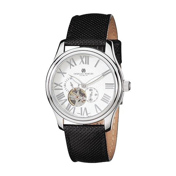 Inoxidable acero caso blanco Dial reloj automático por Charles Hubert París relojes, caja de regalo