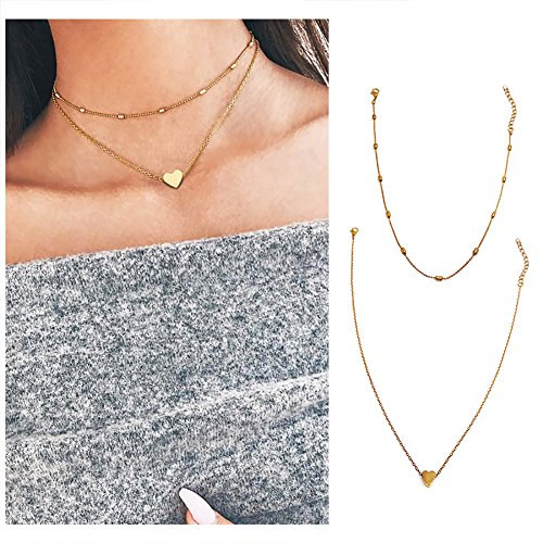 Wowanoo Choker Necklace Set Multilayer Simple Layers Chain Heart Clavicle Necklace Jewelry for Women TwoG