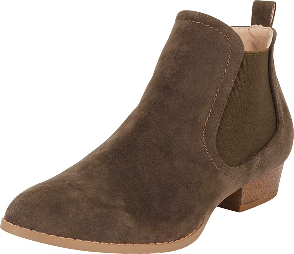 Olive Imsu Cambridge Select Women's Classic Western Pointed Toe Chelsea Stretch Low Heel Ankle Bootie