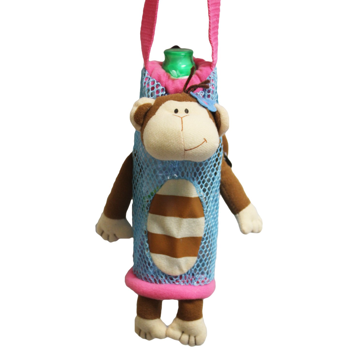 Stephen Joseph Children's Girl Monkey Bottle Holder, Polyester, Blue, 8.9 x 7.5 x 18.42 cm