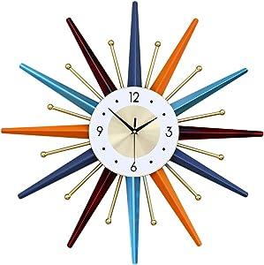 Modern Wall Clock Starburst Ball Clock Colorful MidCentury Home Kitchen Decor - Minimalist, Silent Sweep Hands, Quiet Quartz Movement, House Decorative Multicolor,22inch