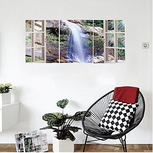 Liguo88 Custom canvas House Decor Wall Hanging Open Window Sees A Small Water Cascade Flowing Down Hills Recreational Relax Om Picture Bedroom Living Room Decor Brown Green Rubbed Bronze Cascade
