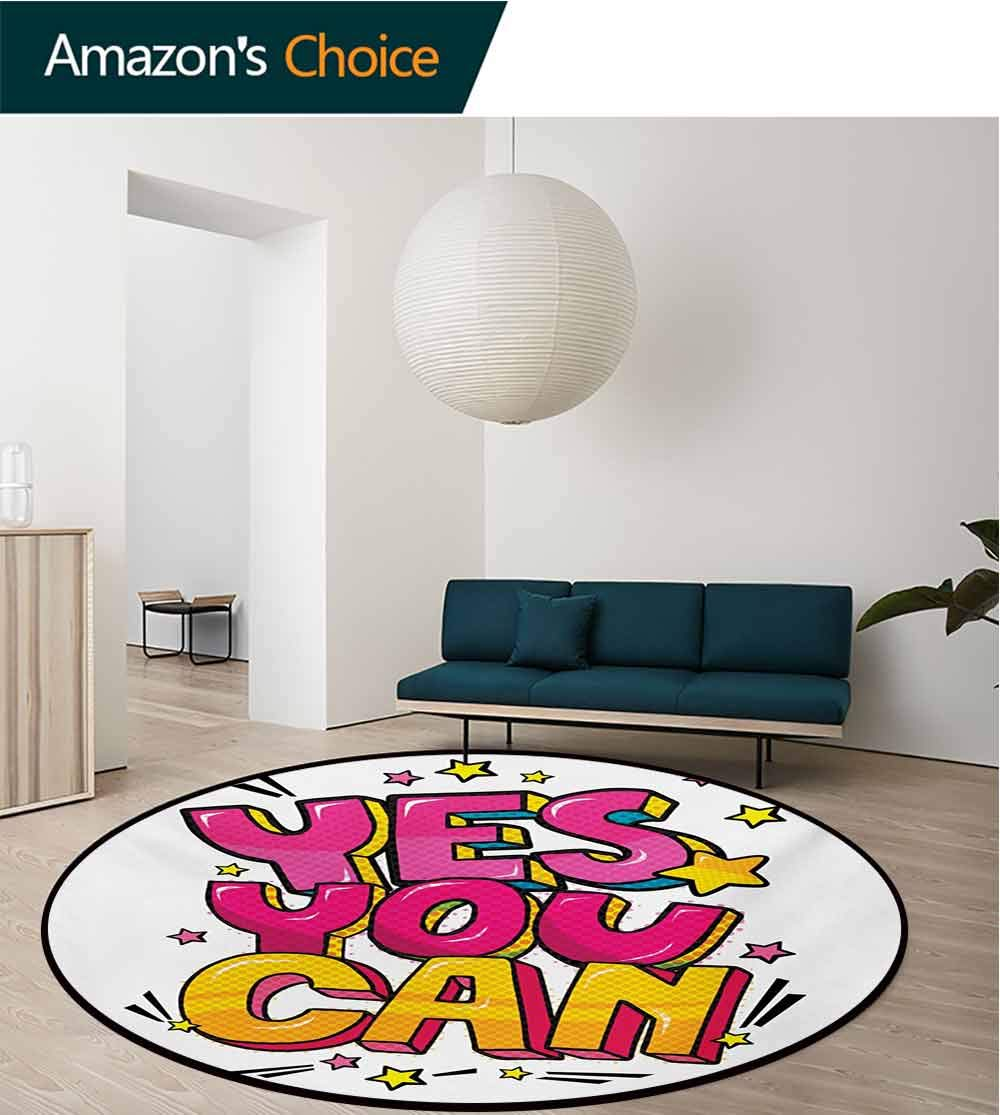 Quote Modern Machine Washable Round Bath Mat,Motivational Yes You Can Message Graffiti Word Bubble Style With Stars Non-Slip Soft Floor Mat Home Decor,Diameter-59 Inch Hot Pink Yellow And Blue