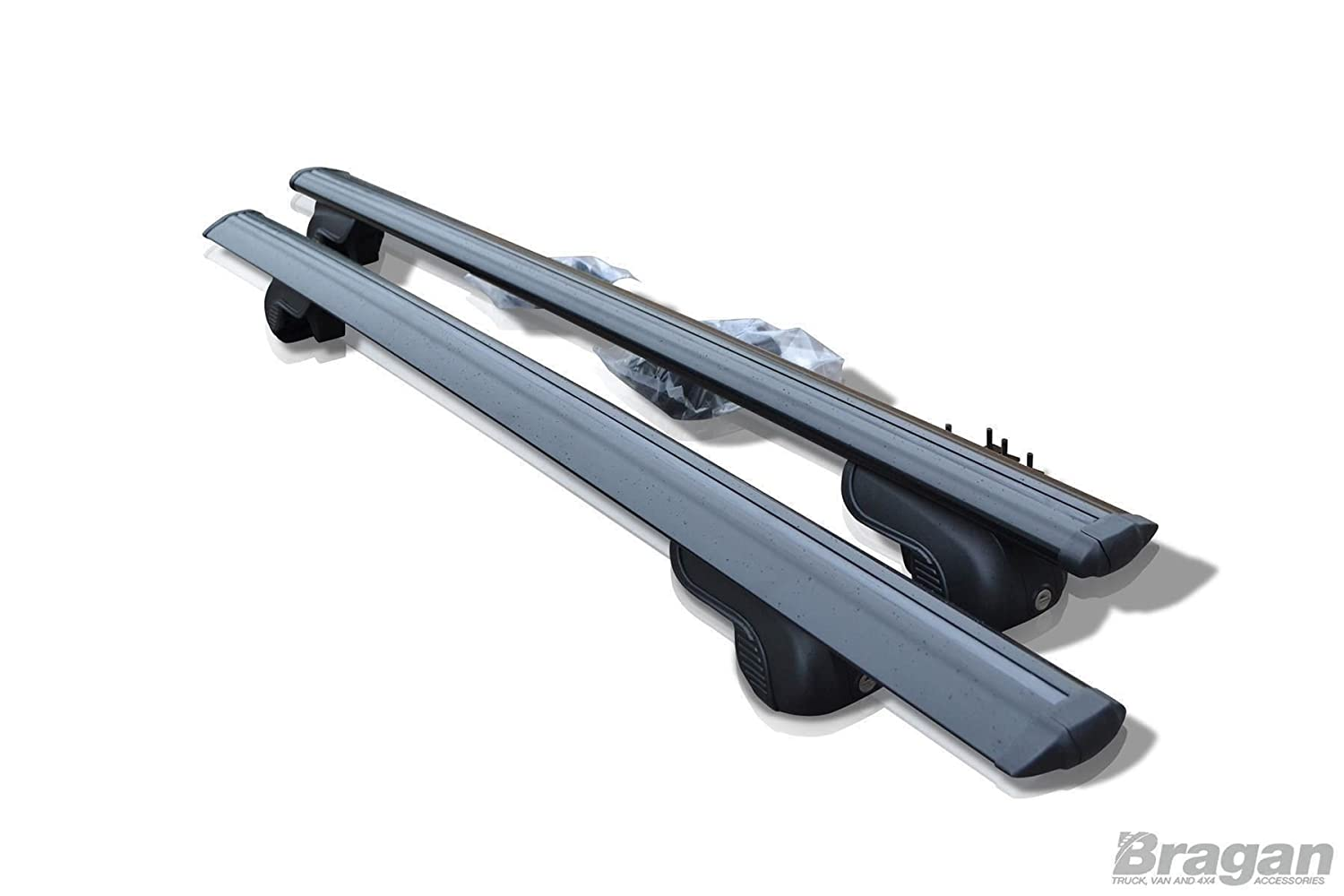 Bragan BRA41140B Integrated Roof Rack Rails Locking Black Cross Bars