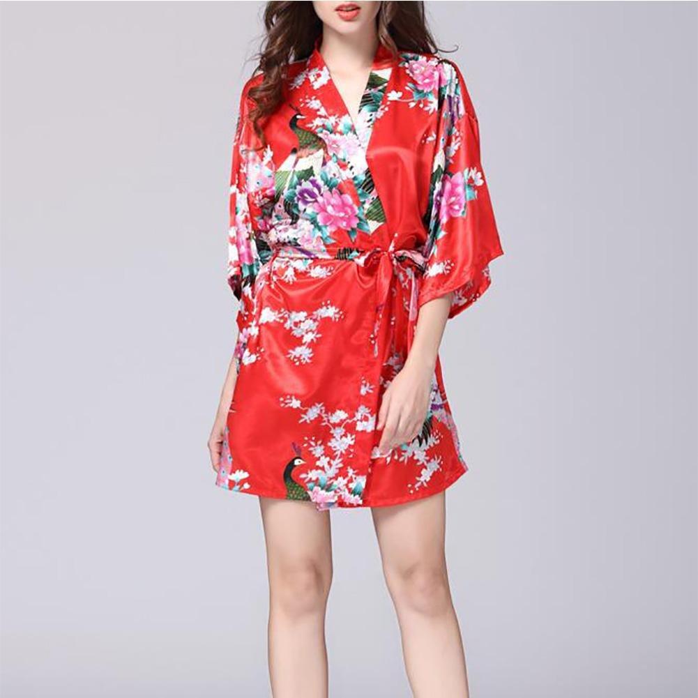 HEXUQIANG HXQ Kimono Batas Raso del Pavo Real y Flores de Seda Ropa de Dormir Estilo Corto Bata de Las Mujeres, Black: Amazon.es: Hogar