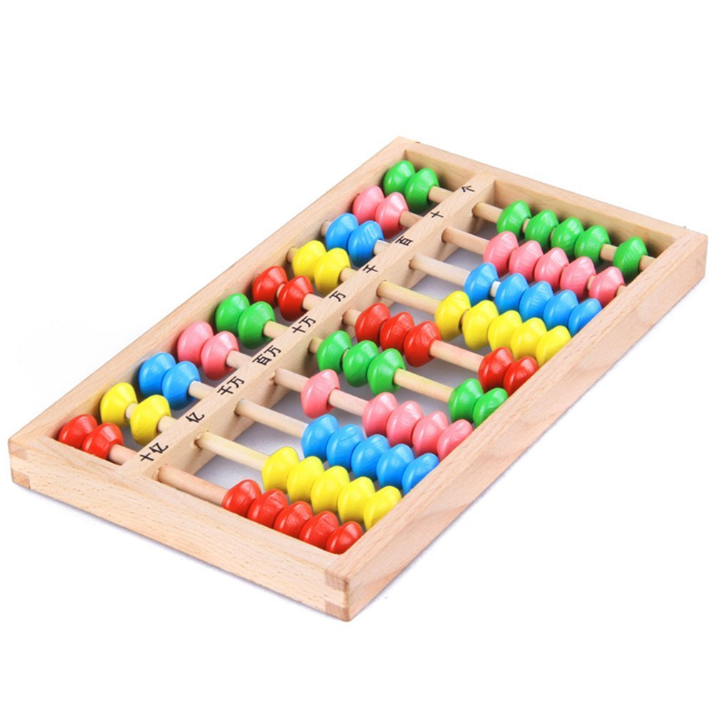 Haifly 10 Digits Colorful Beads Wooden Abacus Soroban Math Manipulatives Calculating Tool for Kids