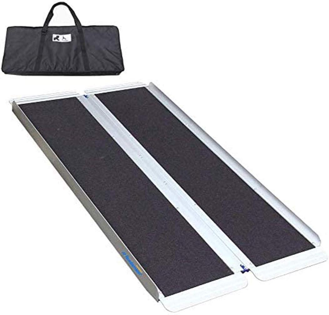 "Ruedamann 5' x 30"" Non-Skid Threshold Ramp,Portable Aluminum Folding Wheelchair Ramp for Home,Steps,Stairs,Doorways,with Bag (MR607W-5)"