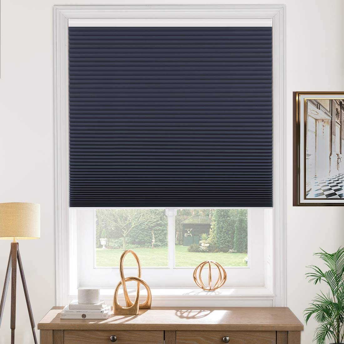 Milin Cellular Shades Blackout Cordless Fast Delivery Window Blinds And Shades Custom Cut To Size No Light Leakage Privacy Single Cell Honeycomb Shades Navy Denim Home Kitchen