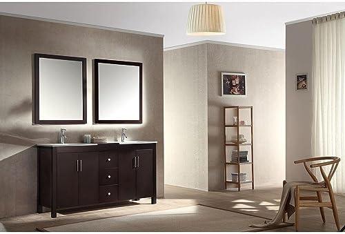 DKB Douglas Series 60 Inch Solid Wood Double Sink Bathroom Vanity Set in Espersso with Black Granite Countertop