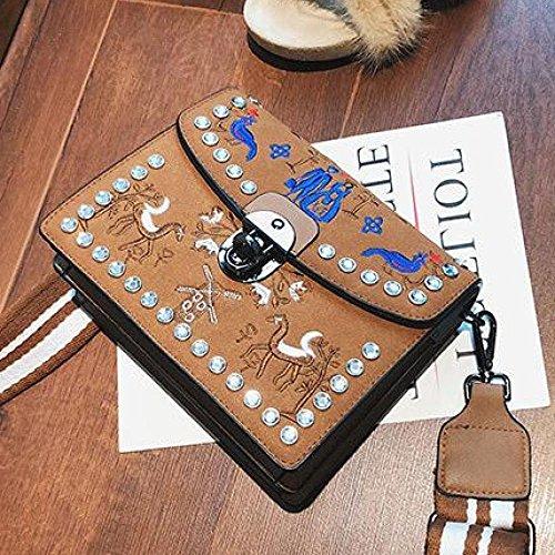 spalla Borsa Ajlbt ricamata con Black Rivetti Fashion fiori L'ampia coreani 0vr0BATq