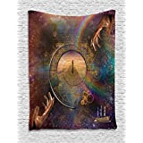 Ambesonne Magic Home Decor Collection, Double Exposure Outer Space Mixed with Earthly Symbolic Eternity Details Artsy Print, Bedroom Living Room Dorm Wall Hanging Tapestry, Purple Tan