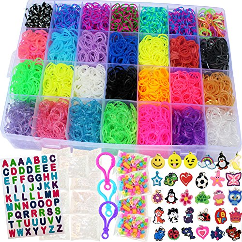 Talented Kidz 11,750+ Authentic Rainbow Mega Refill Loom: Set w/10,750 Premium Quality Rubber Bands, 30 Charms, 200 Beads, ABC Stickers to Personalize Your Case, 550 Clips, 9 Backpack Hooks, Organizer ()