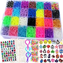Talented Kidz 11,750+ Authentic Rainbow Mega Refill Loom: Set w/10,750 Premium Quality Rubber Bands, 30 Charms, 200 Beads, ABC Stickers to Personalize Your Case, 550 Clips, 9 Backpack Hooks, Organizer