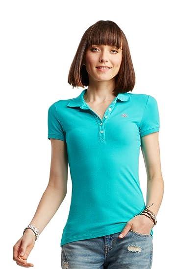 Aeropostale Camiseta de A87 piqué Polo para mujer azul: Amazon.es ...
