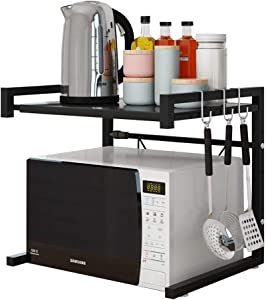 HamerTools Microwave Oven Rack, Carbon Steel, Kitchen Counter Shelf, 2 Tiers with 3 Hooks, 55 lbs Loading Bearing, Anti-Slippery Mat, Color Black, Expandable 40 to 60 Cm.