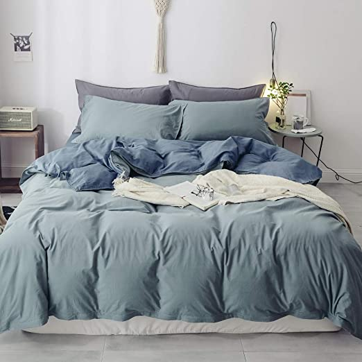Amazon Com Blue Grey Solid Duvet Cover Set Queen Washed Cotton