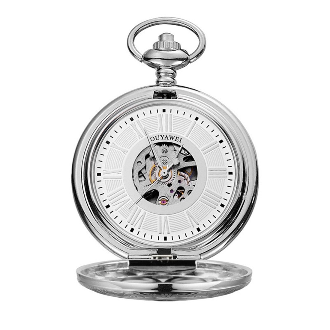 Funique Unisex Roman Numerals Mechanical Pocket Watch with Perspective Bottom Cover(Silver color 2)