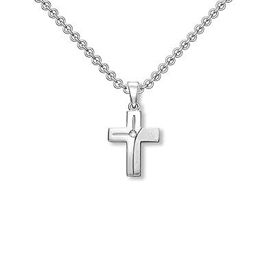 Mädchen Kreuz Anhänger Herz Zirkonia Taufe Kommunion mit Kette Echt Silber 925