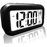 Bull Spring Reloj Despertador Digital con Fecha, LCD Reloj de la Mañana con Termómetro de Calendario Pantalla Grande Luz de Noche Elegante Luz Suave Repetición Luz de Fondo del Sueño