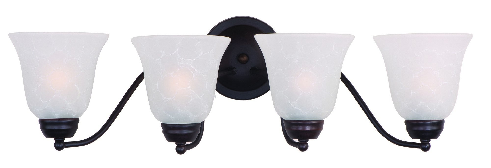 Maxim 2123ICOI Basix 4-Light Bath Vanity, Oil Rubbed Bronze Finish, Ice Glass, MB Incandescent Incandescent Bulb , 12W Max., Dry Safety Rating, 3000K Color Temp, Opal Acrylic Shade Material, 1200 Rated Lumens