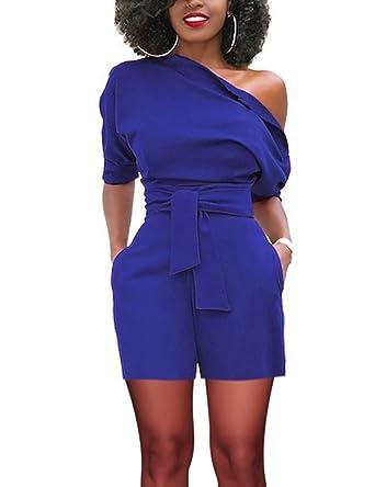 9a5ba6f78007d1 FeelinGirl Femme Combishort Combinaison Pantalon Courte Manches de Plage  Été Jumpsuits avec Poche Une Epaule Dénudées avec Ceinture Taille Haute ...