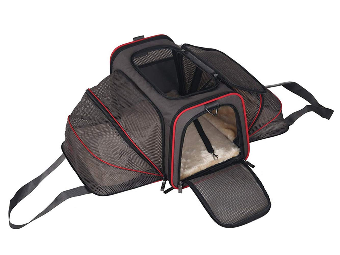 BABYS'q Comfortable Two Sides Expandable Foldable Pet Carrier, Soft Side Dog Carrier, Large Zip Open Top Cat Carrier