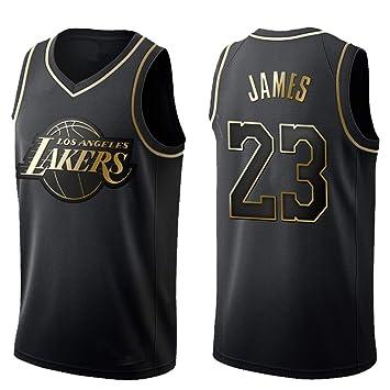 ppx Camiseta De Baloncesto para Hombre New Gold Lakers James # 23 Top Bordado En Tejido De Baloncesto Top Wear