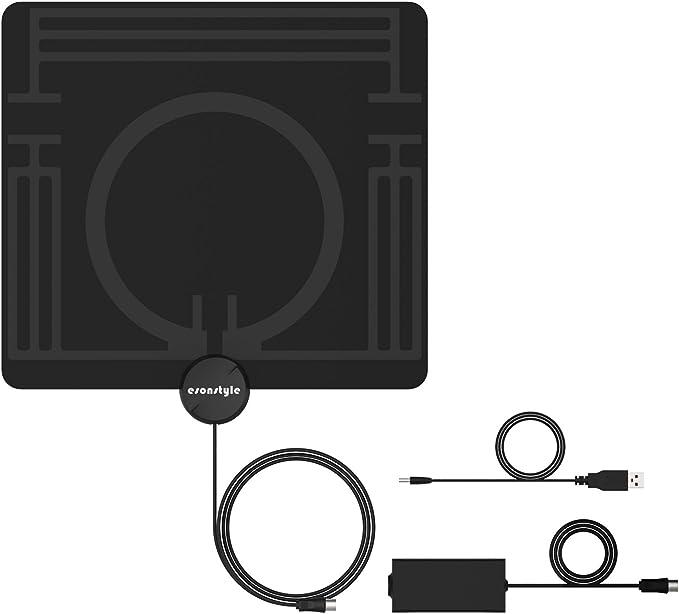 Antena de TV, Esonstyle HD 1080P DVB-T / DVB-T2 Amplificador Antena con 4m/13ft Cable de Alto Rendimiento,50km Rango de Recepción, Página delgada Antena (0,8mm) para VHF/UHF (Antenas de TV): Amazon.es: Electrónica
