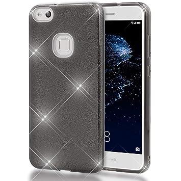 Coovertify Funda Purpurina Brillante Negra Huawei P10 Lite, Carcasa Resistente de Gel Silicona con Brillo Negro para Huawei P10 Lite