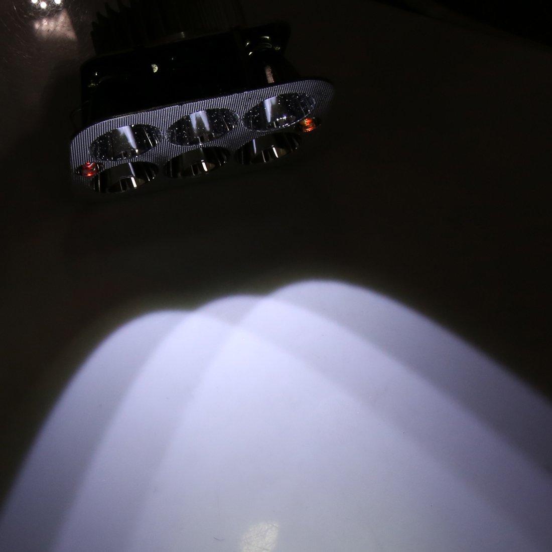 sourcing map 18 Bianco Quadrato Settore automobilistico Moto Lavoro LED Lampada 6 LED Faro Anteriore Moto Ciclo