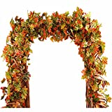 Greentime 2 Pcs 8.8 FT Artificial Silk Canadian Maple Leaves Ivy Vine Hanging Wreath Foliage Leaves Plants Garland for Indoor Outdoor Wall Decoration