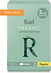 Rael Certified Organic Cotton Menstrual Regular Pads, Ultra Thin Natural Sanitary Napkins with Wings (28 Total), 28 Count