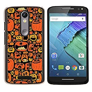 LECELL--Funda protectora / Cubierta / Piel For Motorola MOTO X3 3rd -- Naranja calabaza Negro vacaciones --