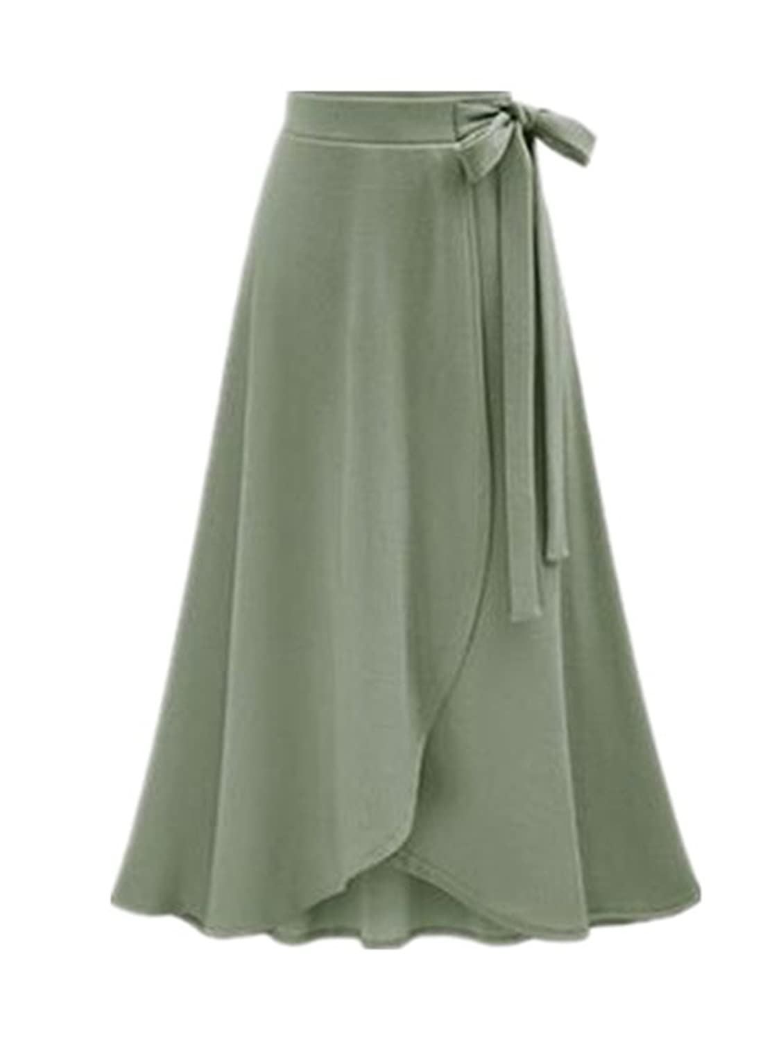 Castjones Women Skirt New Summer Vintage Long Skirt Women High Waist Elegant Chiffon Skirt Lady Beach Solid Large Size Army Green XL at Amazon Womens ...