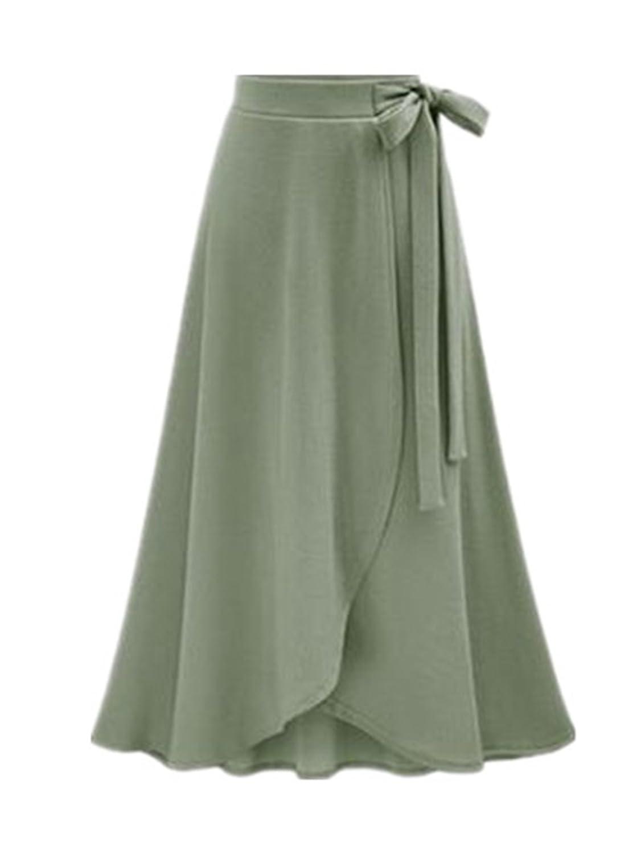 Castjones Women Skirt New Summer Vintage Long Skirt Women High Waist Elegant Chiffon Skirt Lady Beach Solid Large Size Army Green XL at Amazon Womens ...
